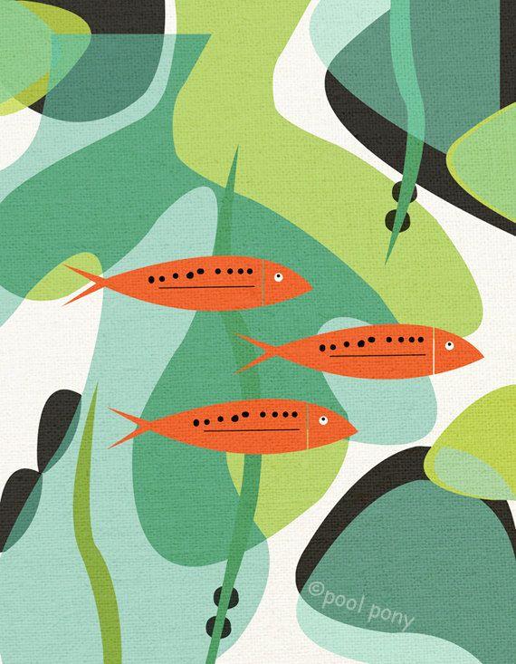aquarium mid century design art print by poolponydesign on Etsy.  I adore Etsy!                                                                                                                                                                                 More