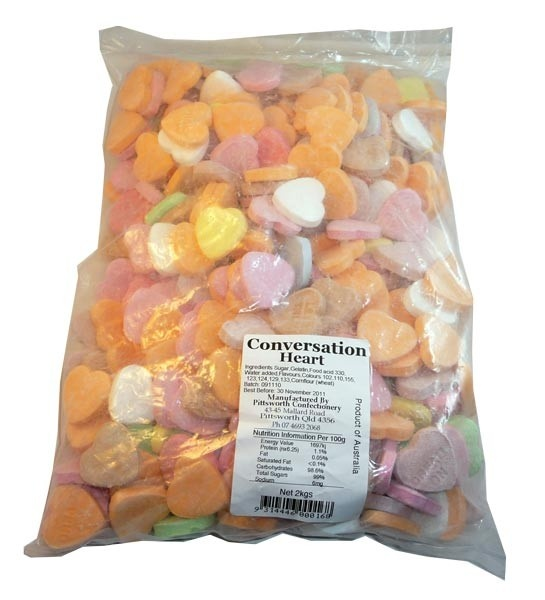 The Professors Tasty Technology - Conversation Hearts (2kg), $18.10 (http://www.theprofessors.com.au/products/conversation-hearts-2kg.html)