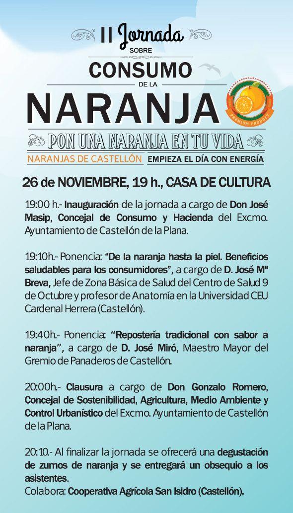 II Jornada sobre consumo de la naranja. Mañana, a las 19h en la Casa de Cultura.
