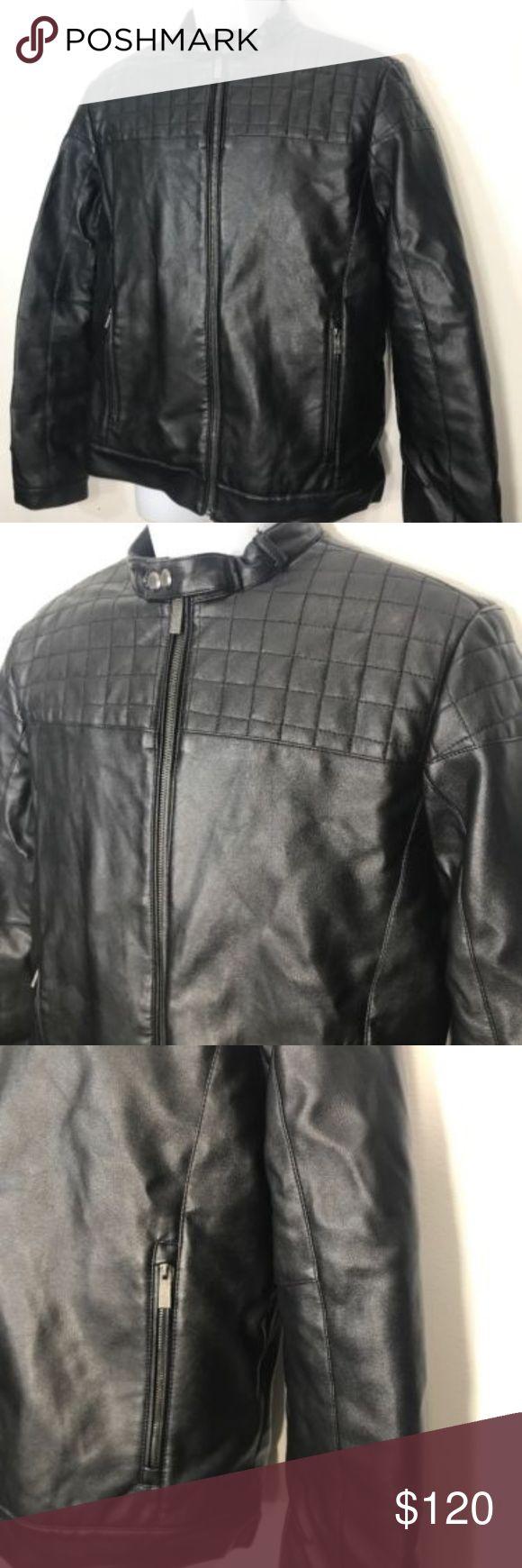 Men's Calvin Klein Leather Jacket Excellent Size M
