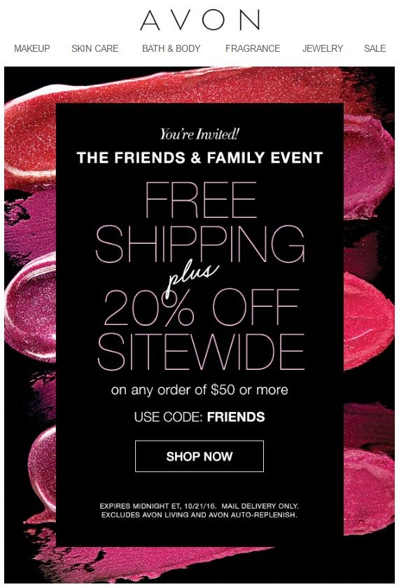Avon coupon codes free shipping