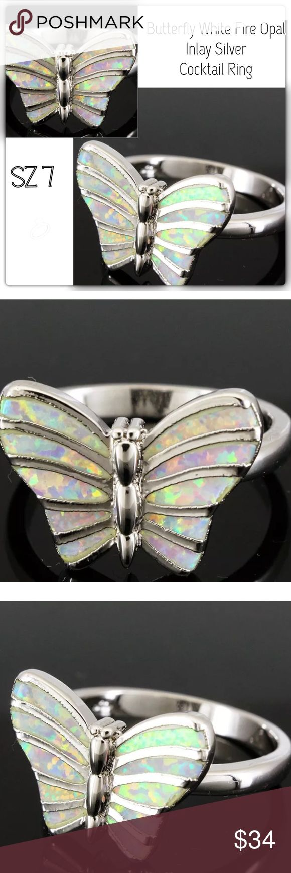 Butterfly White Fire Opal Inlay Silver Ring (Rhodium) NICKEL FREE Lab Created Fire Opal Are grown using the same composition as natural stones.  The color hardness and chemical composition of lab- Created Fire Opal are identical to their natural counterparts. They are genuine stones with modest price. CT Jewelry Jewelry Rings