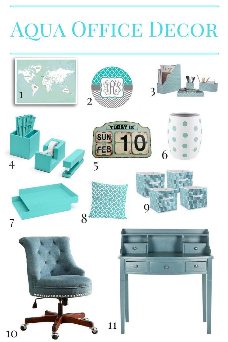 Adorable Aqua Office Decor including desk supplies, an aqua desk, an aqua tufted chair and more. Click to shop the look!