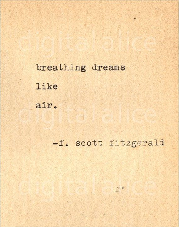 VINTAGE TYPEWRITER PRINT f Scott Fitzgerald Quote door DigitalAlice