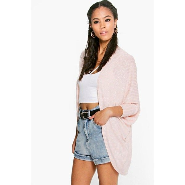 Boohoo Faye Rib Knit Oversized Batwing Cardigan ($14) ❤ liked on ...