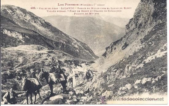 VALL D'ARÁN - SALARDÚ - PASAJE DE MULOS PARA EL LLANO DE BERET - LABOUCHE FR. - SIN CIRCULAR