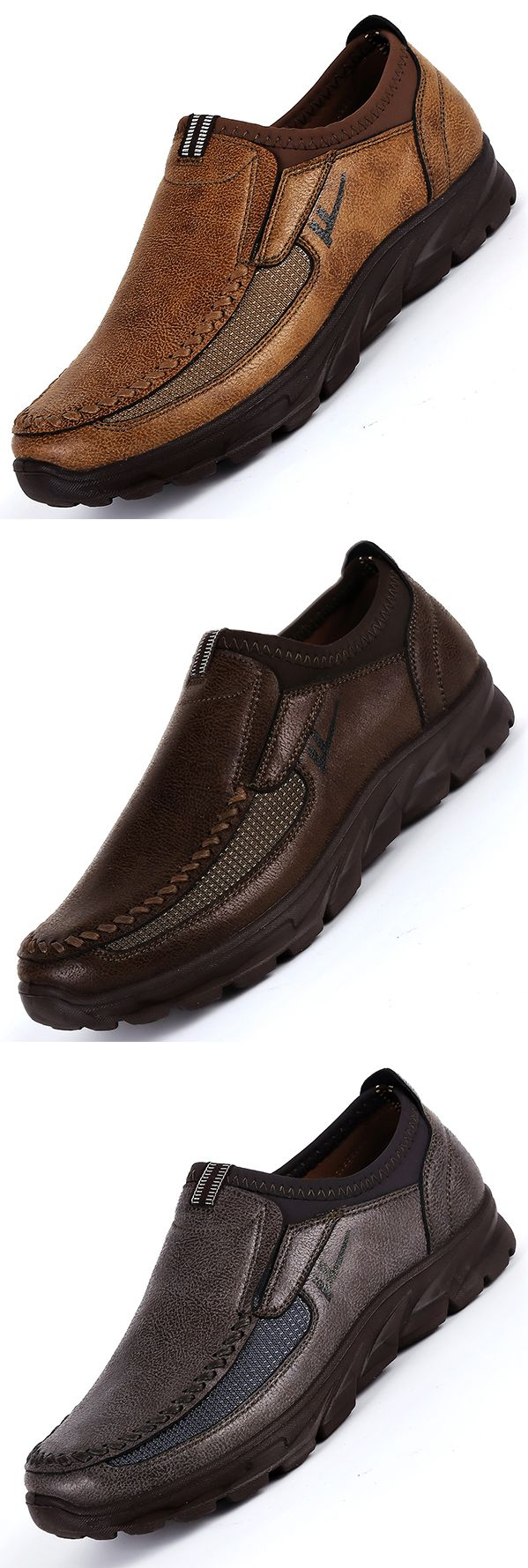 US$31.53 Men Large Size Hand Stitching Microfiber Leather Non-slip Casual Shoes