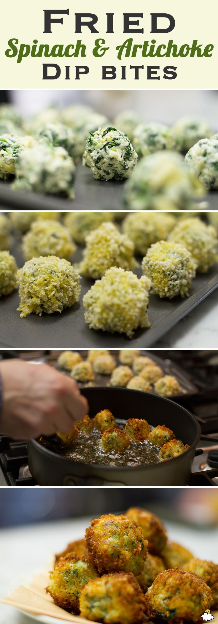 Fried Spinach And Artichoke Dip Bites Put A Perfect Twist On An Old Favorite. Perfect snack for a Super Bowl party.