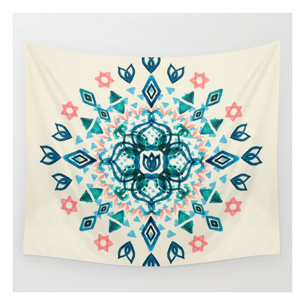 Watercolor Lotus Mandala In Teal & Salmon Pink Wall Tapestry ($39) ❤ liked on Polyvore featuring home, home decor, wall art, wall tapestries, teal blue home decor, outside wall art, lotus flower wall art, mandala wall art and tapestry wall art