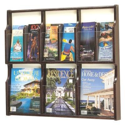 Safco Display Expose Wood 3-Pocket Magazine 6-Pocket Brochure Rack - $72.98