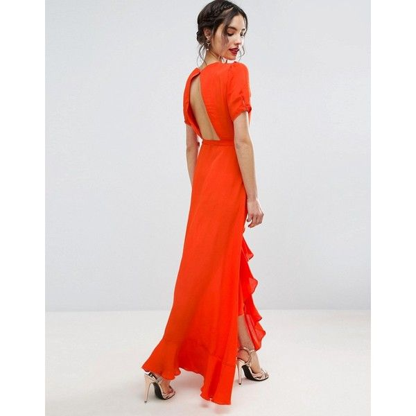 ASOS Tea Dress Maxi with Ruffle Detail and Open Back ($58) ❤ liked on Polyvore featuring dresses, orange, v-neck dresses, v neck dress, open back maxi dress, orange dress and wrap front maxi dress