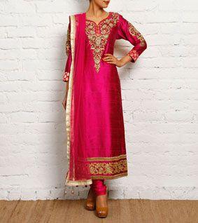 Wine Raw Silk Churidar Suit