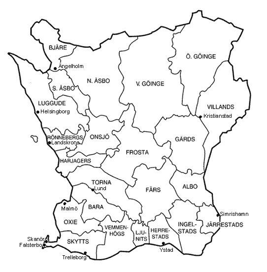 Karta över Skånes härader