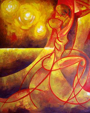 """Por un beso"" 114x147 cm | Acrylic on canvas (2007) Javier Pavón #art #arte #acrylic #painting #jpavón #saatchiart #tango"