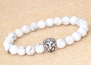Men's White Howlite Stone Silver Lion Head Bracelet 8 in Long 8 mm Beads | eBay