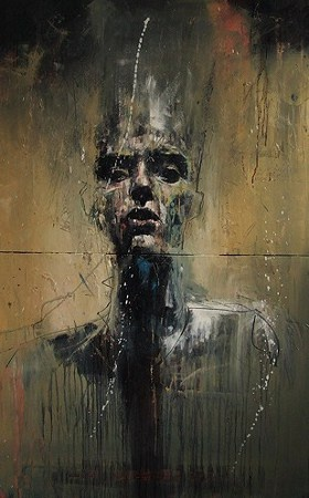 """Surge successful, stop now, watch this"" by Guy Denning. Oil on 2 canvas panels, 76 x 122 cm, 2009"
