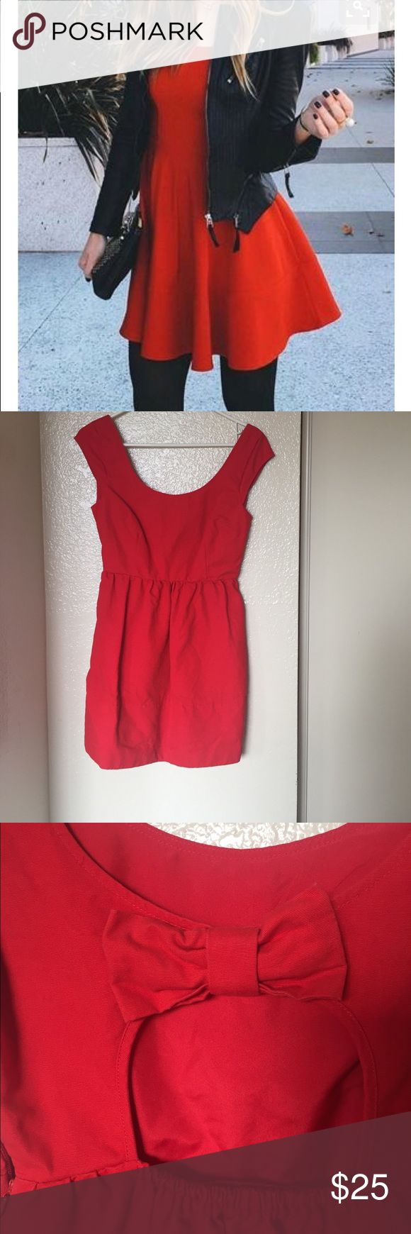 American Eagle outfitters red skater dresse American Eagle outfitters red skater dress with a low bow peekaboo back American Eagle Outfitters Dresses Mini