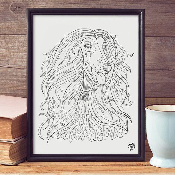 Afgan Hound Dog A4 A5 illustration print art dog print by mmuffn