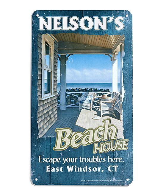 'Beach House' Personalized Metal Sign