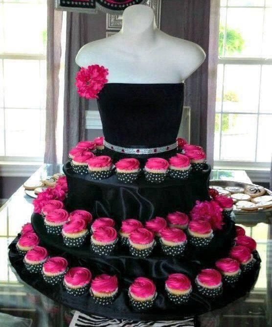 A creative fashion twist on the #cupcake tower. Fantastic idea for a Sweet 16 Birthday, Bridal Shower or Women's Conference. A conversation piece; your guest won't expect it.