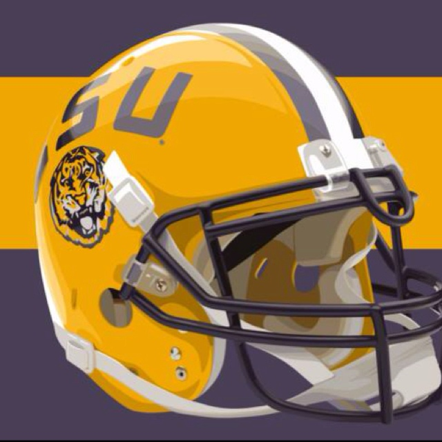 LSU Helmet ~ Check this out too ~ RollTideWarEagle.com sports stories that inform and entertain and Train Deck to learn the rules of the game you love. #Collegefootball Let us know what you think. #LSU