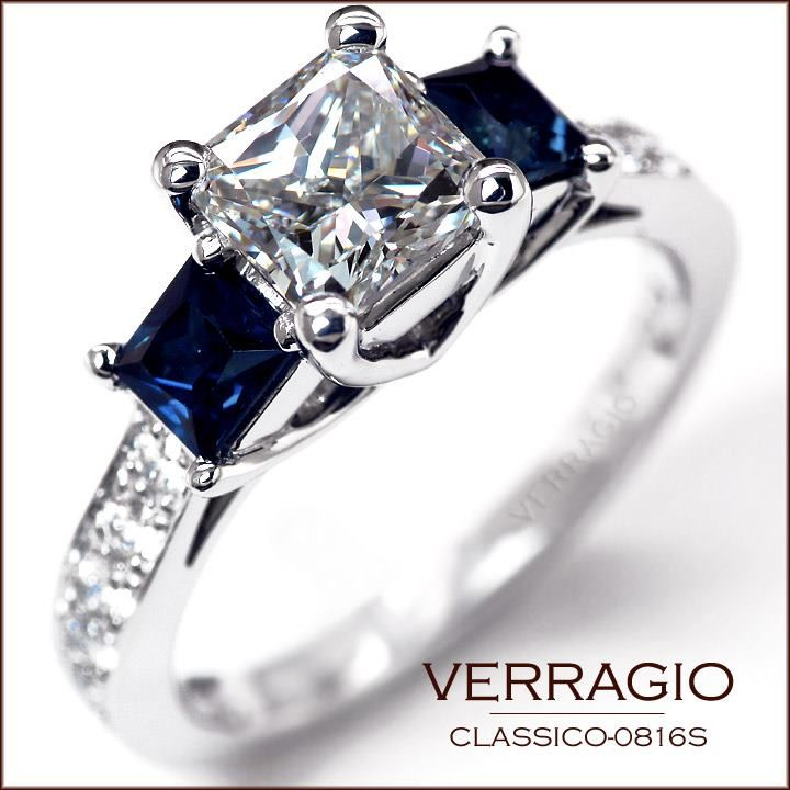 Verragio Engagement Ring, Princess Cut and Saphires...love! Except maybe the sapphire in the middle and diamonds on the sides :)