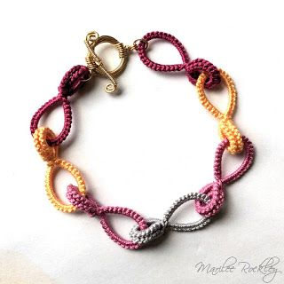 Yarnplayer's Tatting Blog: Tatted Cotter Pin Links Tutorial and Bracelet #tatting #jewelry