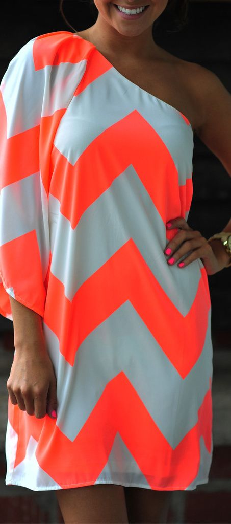 Wild Wide One Shoulder Chevron Dress: Neon Orange