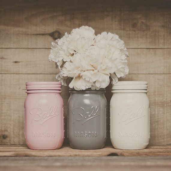 Painted mason jars. Wedding centerpiece. by StyleJarsandCans