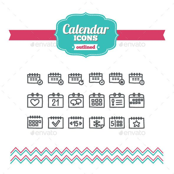 Hand Drawn Calendar Icons — Transparent PNG #plan #date • Available here → https://graphicriver.net/item/hand-drawn-calendar-icons/10646677?ref=pxcr