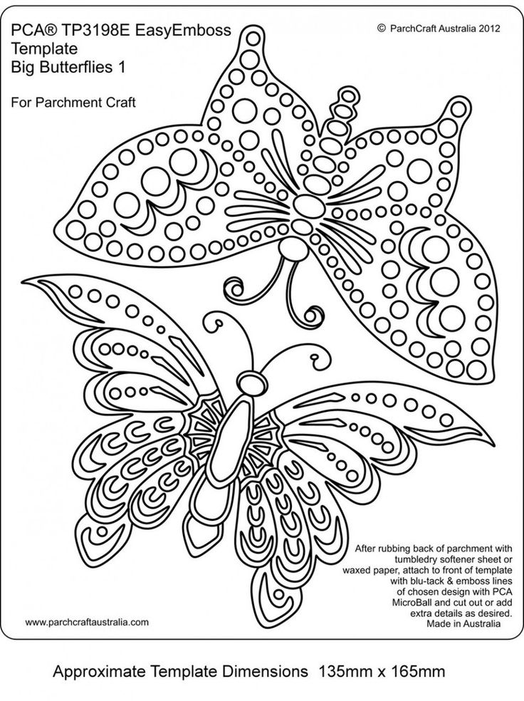 PCA TEMPLATES 3198E - BIG BUTTERFLIES 1    Easy Embossing Template - Big Butterflies 1. Use a micro ball tool to create BIG  butterflies within your designs.  Simply place the parchment over the template and follow the lines with a ball tool. PCA recommend lubricating the parchment with a tumble dryer sheet before embossing.
