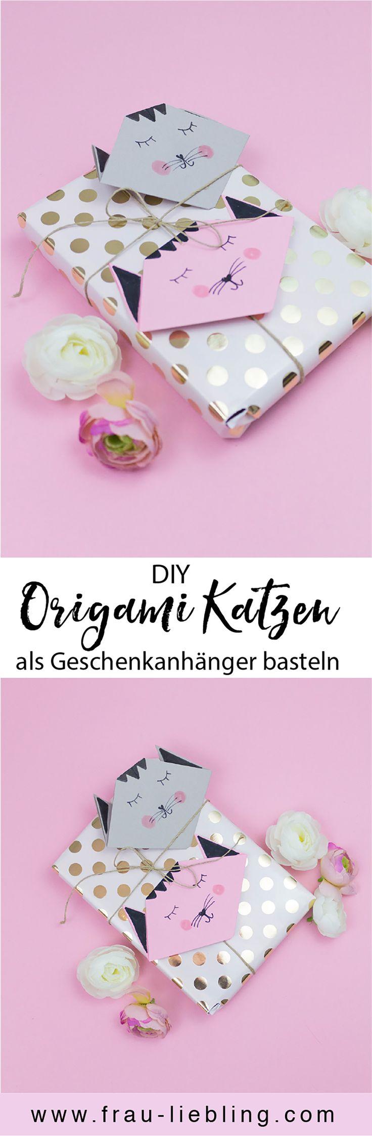 Möchtest deine Geschenke originell verpacken? Wie wäre es mit Origami Katzen als Geschenkanhänger? Die DIY Anhänger kannst du schnell und einfach selber basteln und auf das Papier der Rückseite schreibst du den Namen drauf. So kannst du deine Geschenke hübsch verpacken.
