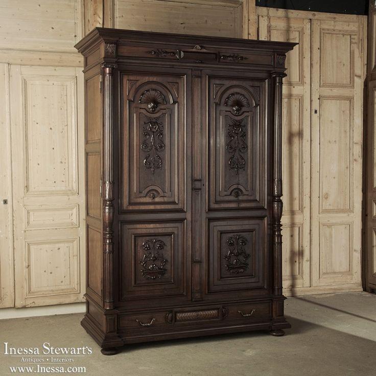 best 196 antique armoires wardrobes and cabinets images on pinterest home decor. Black Bedroom Furniture Sets. Home Design Ideas
