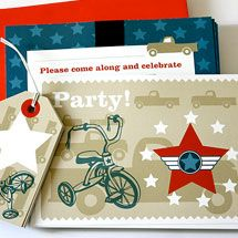 Trucks and Trikes Birthday; Vintage style invite set, comes with the Standard and Deluxe Packs