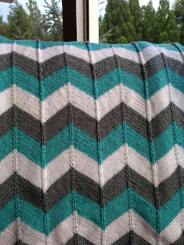 Stash Busting knitting patterns: Chevron Blanket by Karin Michel, download on LoveKnitting