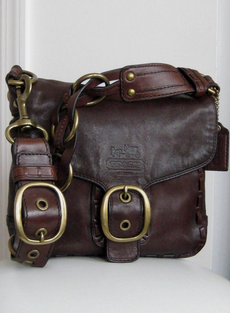 COACH 11446 Ltd Edition Bleecker Dark Brown Leather Tattersall Purse - Pristine! #Coach #ShoulderBag