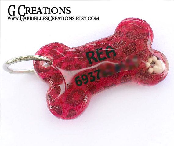 Red Bone Dog Tag with Leopard print and Paw by GabriellesCreations #handmade #personalized #dogtag