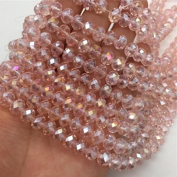 Pick your Strand 6mm Light Pink Crystals Rondelle Beads