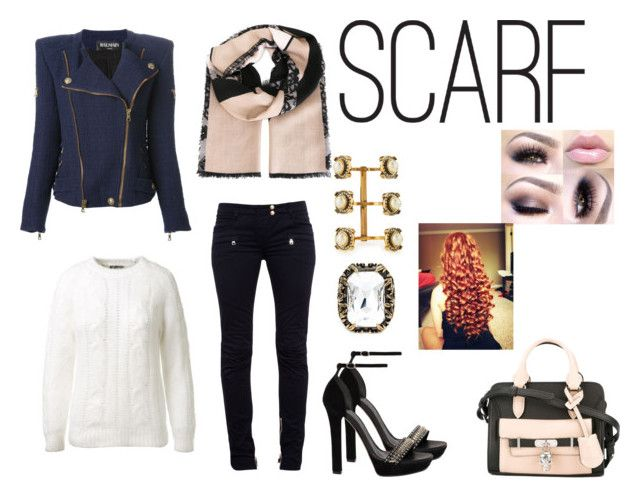 """Fall Style: Scarf"" by samyangelo on Polyvore featuring moda, Elie Saab, Balmain y Alexander McQueen"