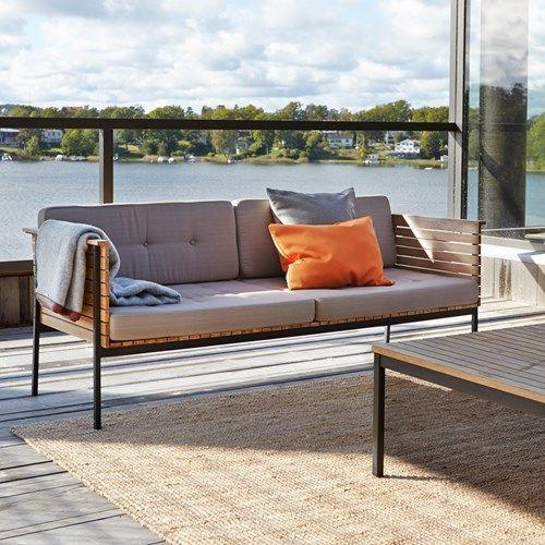 Häringe soffa - Häringe soffa - teak, borstat rostfritt stativ, inkl. dyna