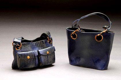 Ceramics by Janet Halligan at Studiopottery.co.uk - 2005 Two handbags