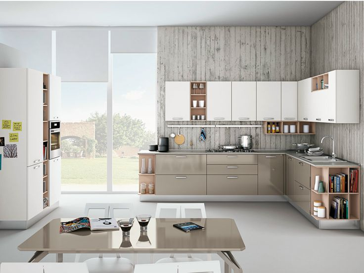 Linear fitted kitchen with handles ZOE by CREO Kitchens by Lube