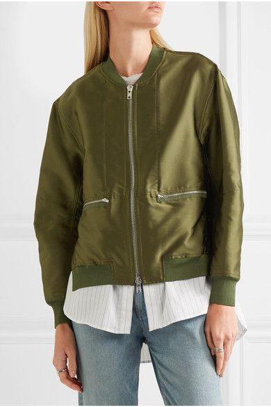 3.1 Phillip Lim - Satin And Striped Poplin Bomber Jacket - Army green - US8