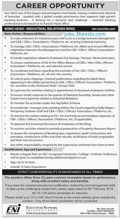 Jobs Available In Executive Network International Bank 23-01-18
