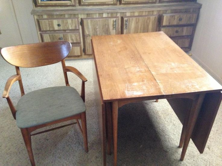Walnut Drop Leaf Table And Chairs U2022Mid Century Modern U2022Vintage U2022Refurbish  Project U2022