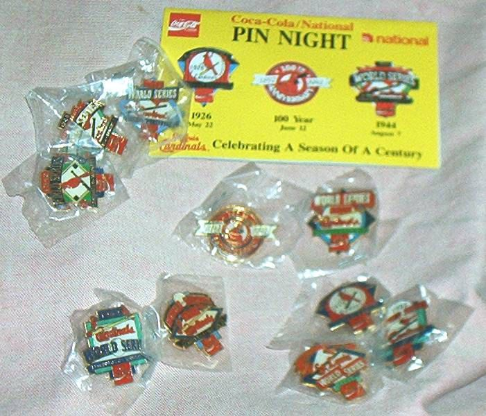 10pc. 1992 St. Louis CARDINALS CENTENNIAL, PIN  Set, Complete Set of World Series Pins and Centennial Pin, Promotional, Mint. by brotoys1 on Etsy