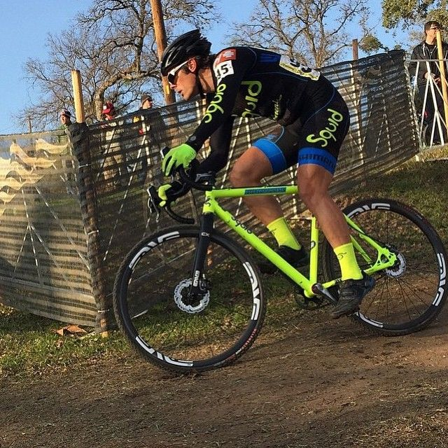 Neon making Austin warmer...? Eric Nelson @sactoeazy ripp'in it up on his Squid/BEER Factory Team Single Speed rig at cyclocross Nationals on Wednesday. #cyclocross #cross #cycling #SSCX #CXNats