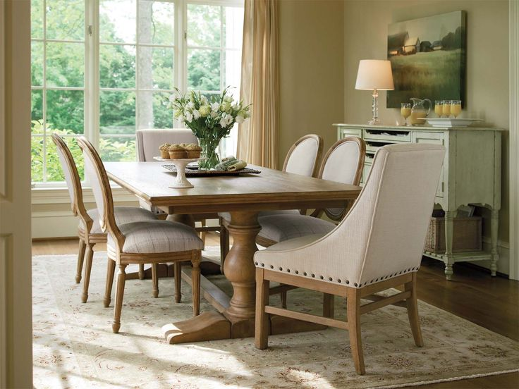 Artistic White Console Table In Traditional Dining Area Using Farmhouse Style Furniture With Wide