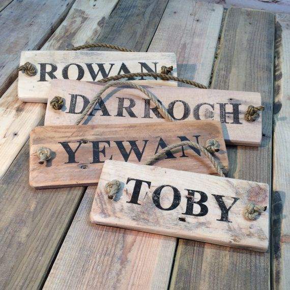 Personalised, Reclaimed Wood Name Plates. Made to Order for Horses, Pets, Babies or Pirate Kids! Rustic, Driftwood Style Gift.
