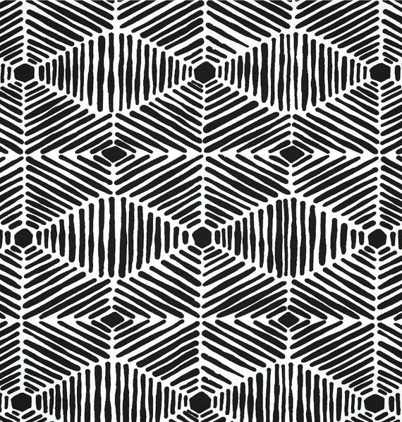 Cotton Tribal Thatch Fabric By The Yard Designer Black White Drapery Fabric Or Upholstery Fabric